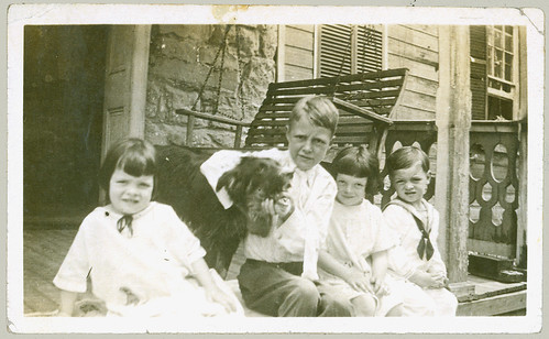 Four children and a dog