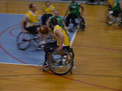 racing(0.0), bicycle racing(0.0), track cycling(0.0), cycle sport(0.0), bicycle(0.0), wheelchair sports(1.0), vehicle(1.0), sports(1.0), sports equipment(1.0), wheelchair basketball(1.0), basketball(1.0),