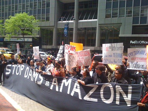 Indigenous support in NYC against Belo Monte Dam in Brazil