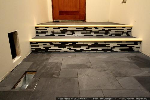stairway tile detail in remodel