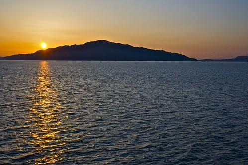 ocean blue sea mountain water japan sunrise iwakuni
