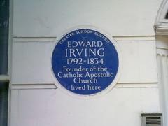 Photo of Edward Irving blue plaque