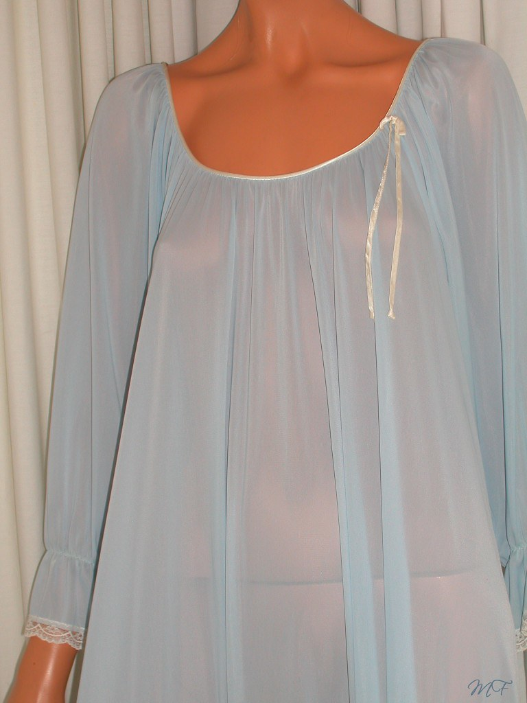 Miss Elaine Sheer Blue Antron Nylon Nightgown Close Up Front 2 - a ...