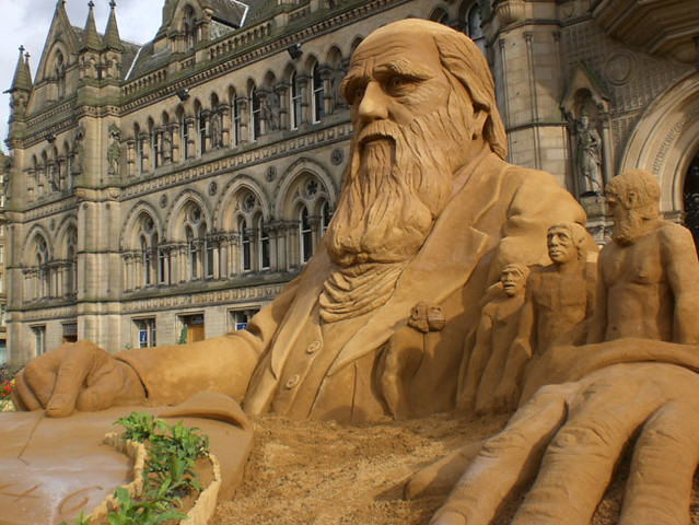 Charles darwin sand sculpture