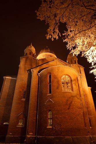 longexposure winter light snow tree church night canon 5d canonef2470mmf28lusm lappeenranta