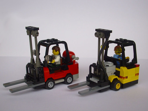 A pair of forklifts