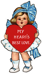 Cute little girl holding red heart - a 1910 Valentine greeting