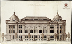 Boston Public Library Competition Drawing [Front Elevation on Dartmouth Street]