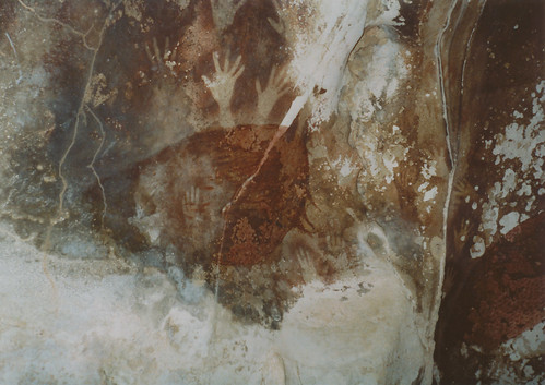 Cave painting of wild pig and hands, Leang-Leang, South Sulawesi