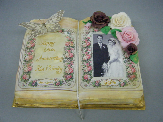 50th Wedding Anniversary Book Cake The lady who ordered the book cake fell
