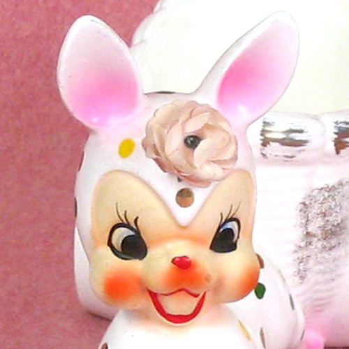 Wacky Bunny Planter Vintage closeup by TipsyTimeMachine