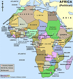 africa map with rivers and deserts