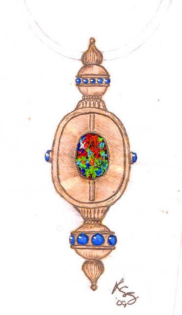 Design Sketch / Rendering for Black Opal Necklace / 2