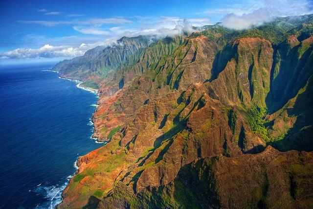 Na Pali Coast aerial - Kauai, Hawaii