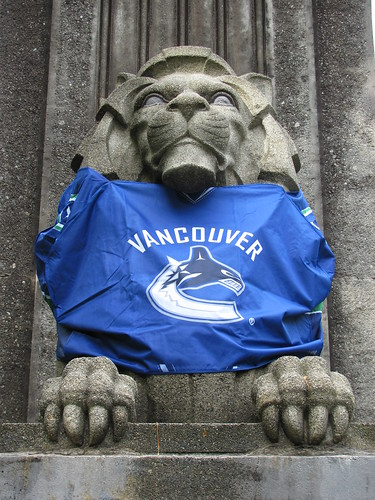 Stone Lion Wearing Specially-Made Vancouver Canucks Jersey at Lions Gate Bridge