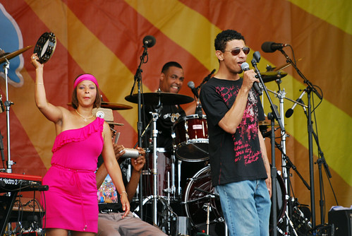 Russell Batiste & Friends on May 1: (L to R) Tambourine Green, Russell, and Jason Neville