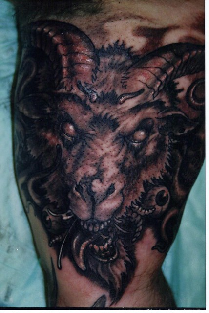 Evil goat tattoo - photo#3