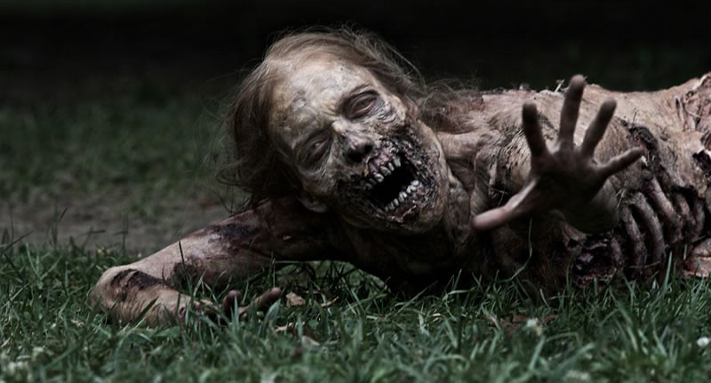 She was Rick's first kill in the Walking Dead season 1. She was a crawler. A zombie, and half eaten.
