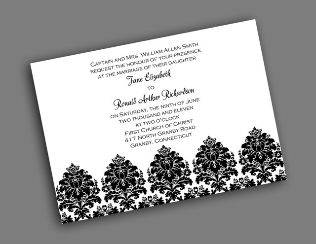 Printable wedding invitation bouquet damask design without border