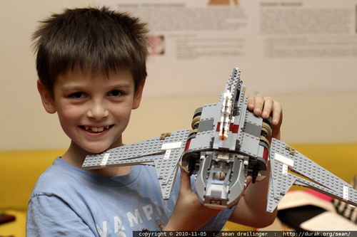 nick with emperor palpatine's shuttle   a birthday lego kit