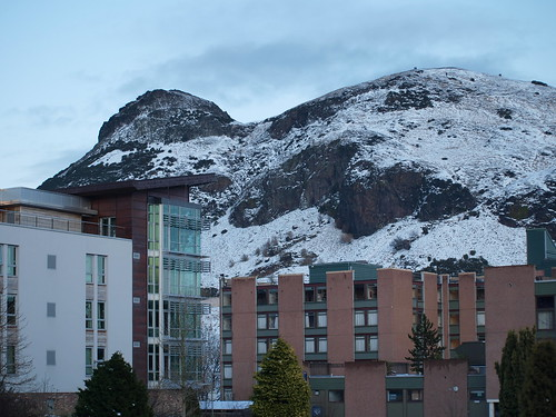 Arthur's Seat and Pollock Halls in Winter
