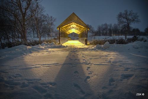 bridge winter lake snow nature canon footbridge kansas topeka lakeshawnee