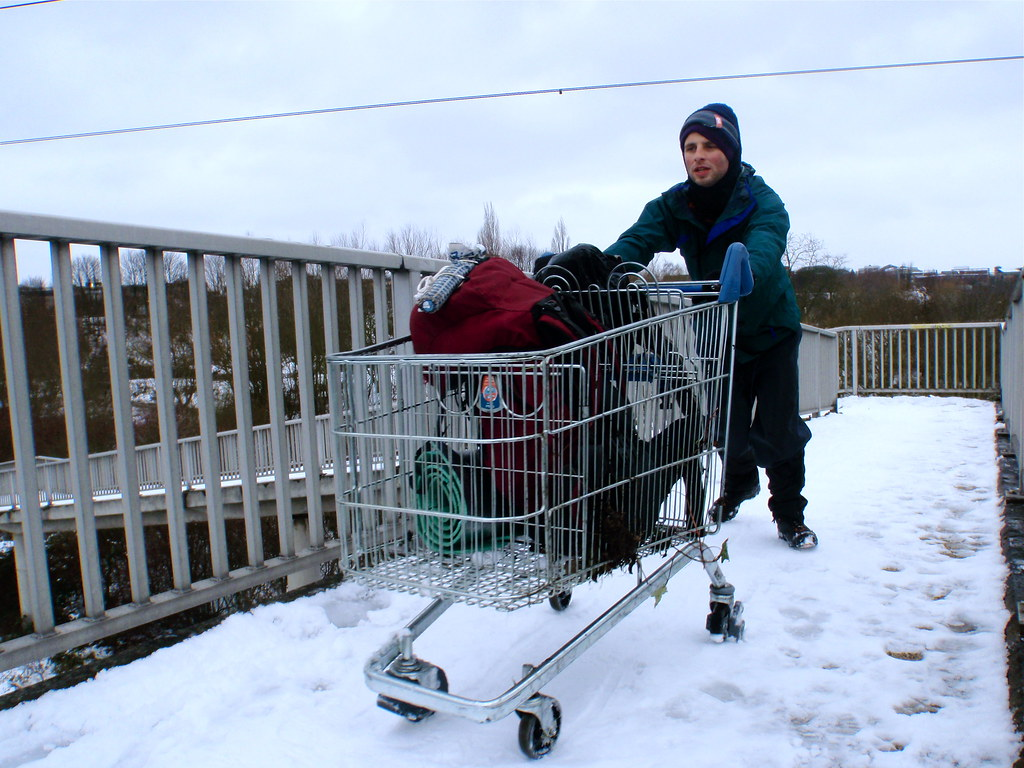 Walking a lap of the M25 - aided by a shopping trolley