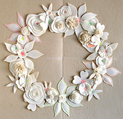 Page's Felt Flower Winter Wreath
