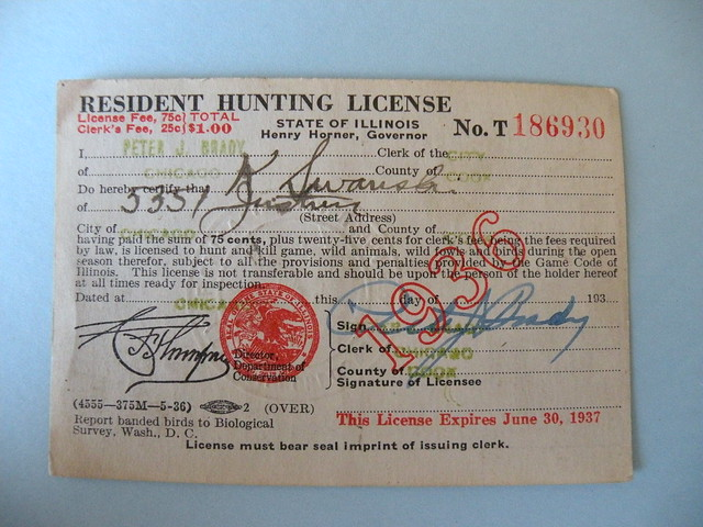 Kostanty gust iwanski 39 s 1936 illinois hunting license for Fishing license il