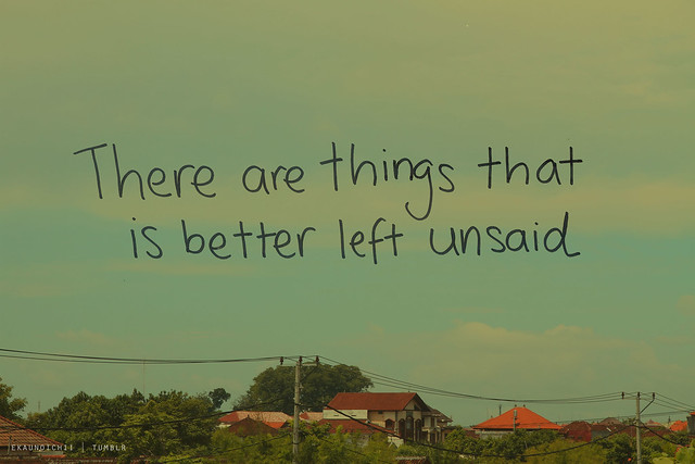 Better Left Un Said Quotes Quotesgram: Things Better Left Unsaid