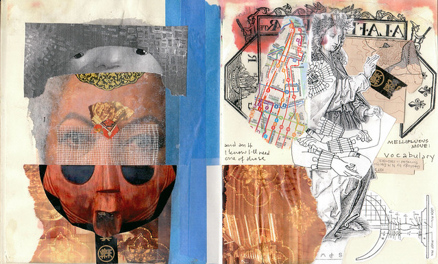 Mellifluous Moue sketch & mask collage, mixed media sketchbook pages, 2009 by Sarah Atlee. Some rights reserved.