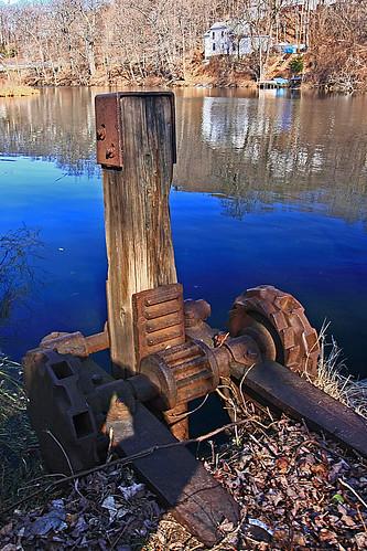 antique dam rusty gears levers