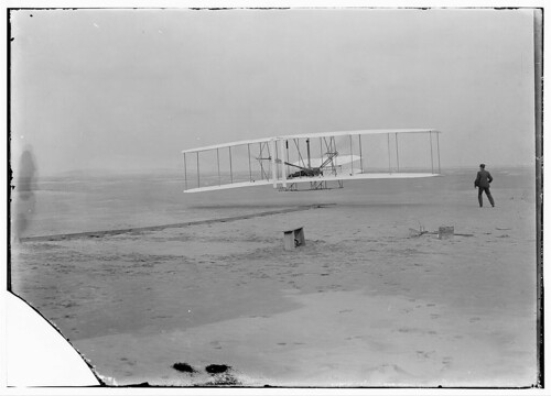 [First flight, 120 feet in 12 seconds, 10:35 a.m.; Kitty Hawk, North Carolina] (LOC)