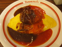 meal, stew, curry, omurice, meat, food, dish, cuisine,