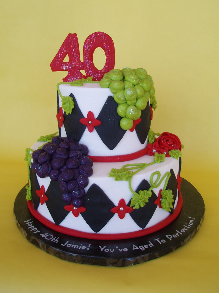 Wine Themed 40th Birthday Cake  Flickr - Photo Sharing!
