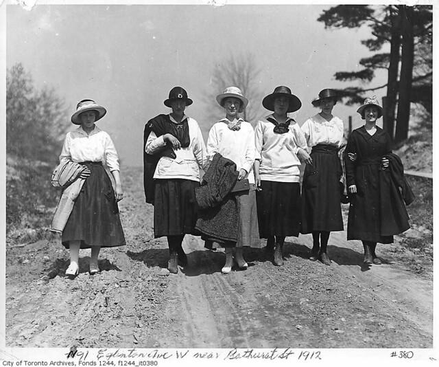 Women walking on Eglinton Avenue West near Bathurst Street