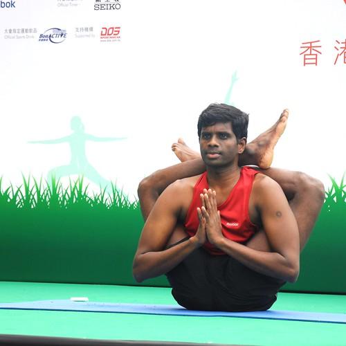 Master Hari was performing Dvi Pada Sirsasana