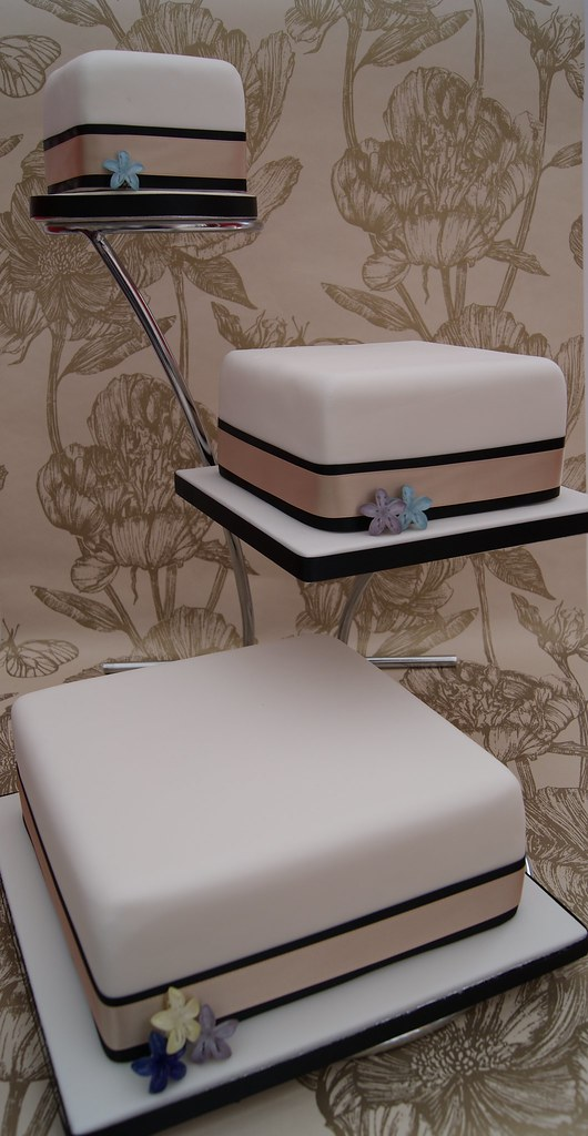 Staggered Square Wedding Cake