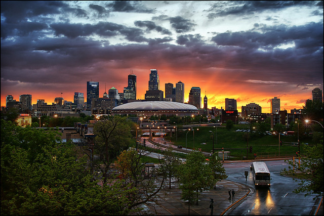 minneapolis, mn minnesota downtown sunset
