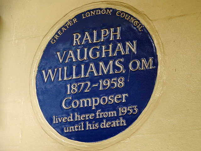 Ralph Vaughan Williams blue plaque - Ralph Vaughan Williams 1872-1958 composer lived here from 1953 until his death
