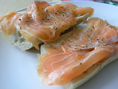 salmon-like fish(0.0), fish(0.0), prosciutto(0.0), produce(0.0), salmon(1.0), fish(1.0), lox(1.0), food(1.0), dish(1.0), cuisine(1.0), smoked salmon(1.0),