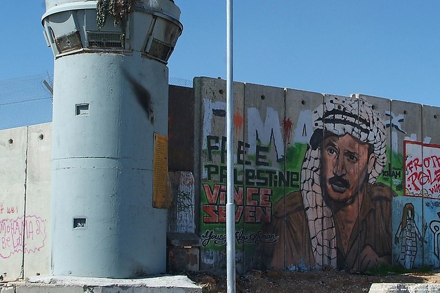Arafat on Israeli wall.