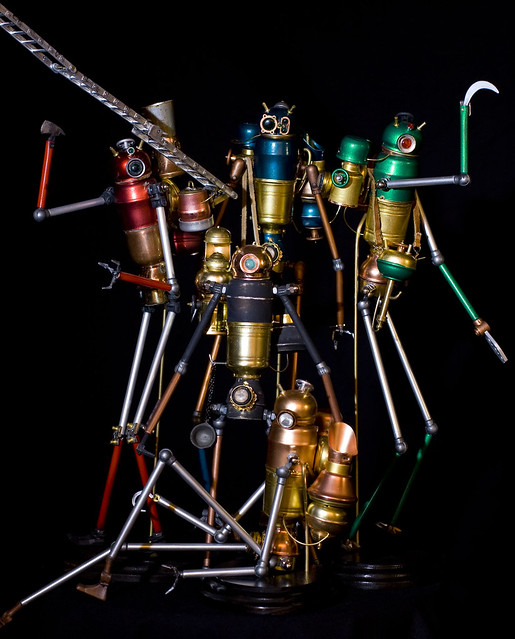 Steampunk Steam Powered Automatons Robots group