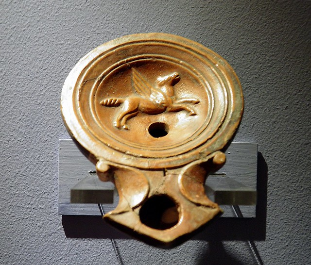 Oil lamp decorated with the image of Pegasus, the winged divine horse, 1st century AD, Emona