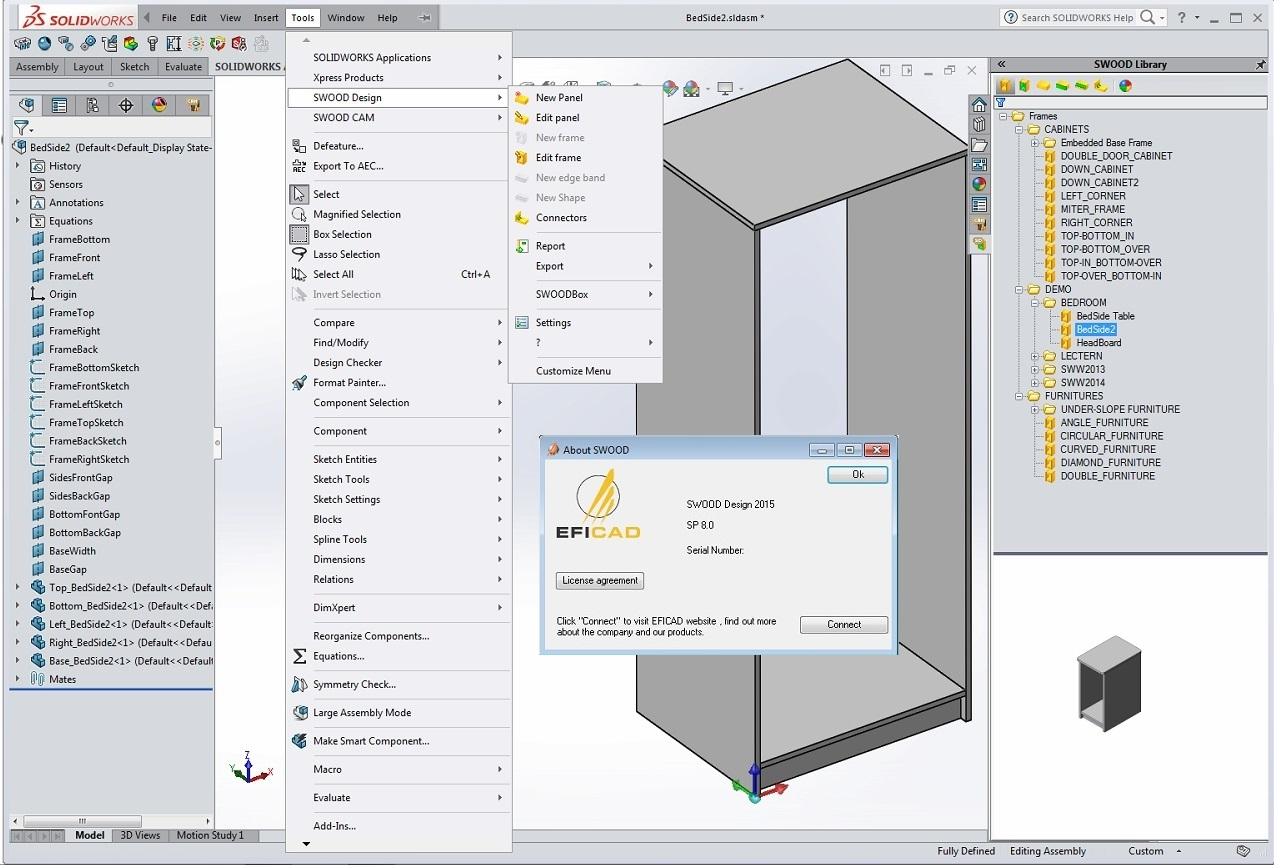 Design with EFICAD Swood 2015 SP8 for SolidWorks 2010-2017