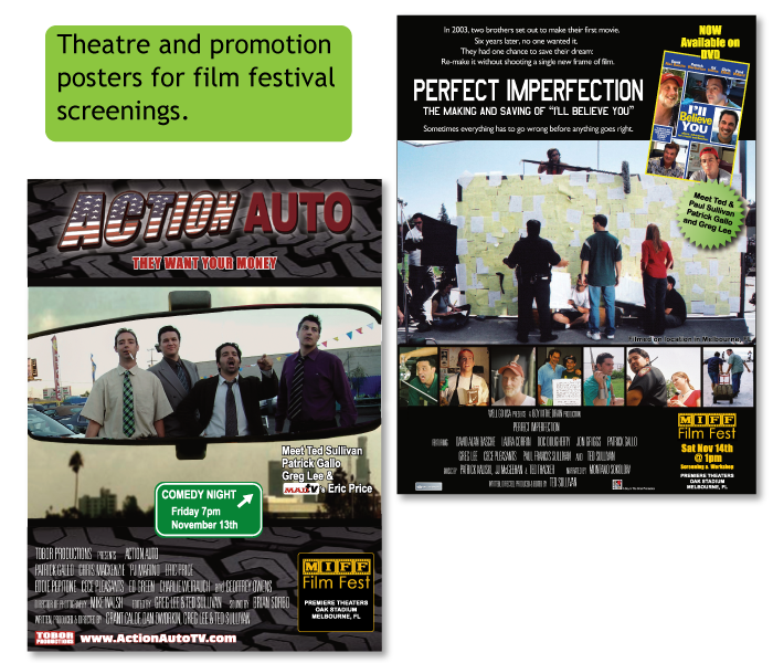 Film Festival Screening Posters for Perfect Imperfection and Action Auto