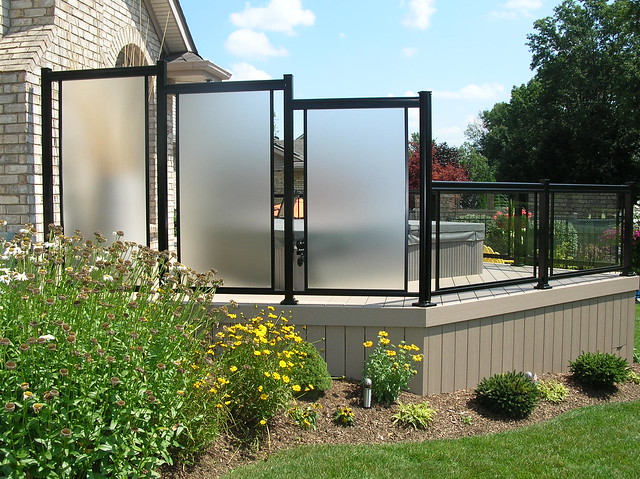 Privacy screen aluminum with glass flickr photo sharing for Garden decking glass panels