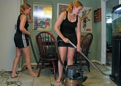 Sadly Sarah's clone took a step back in development, so it looks like she needs a vacuuming lesson with our trainer vacuum (complete with mysteriously vanishing hose).