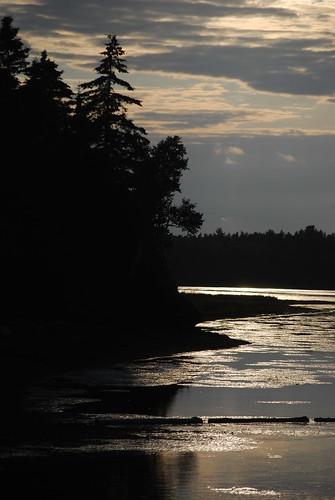 trees sunset canada water silhouette clouds nationalpark newbrunswick kouchibougauc
