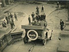 1920s' car being driven down the steps of Sydney Town Hall